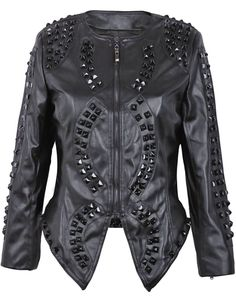 Black Faux Leather Studded