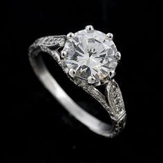 Vintage Style Pave Set Diamond 14k White Gold Engagement Ring Mount