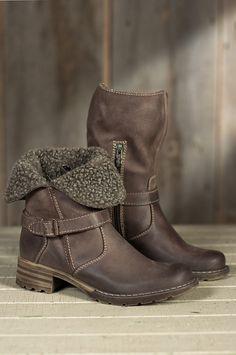 Women's Lana Fold-Down Leather Boots with Shearling Cuff | Overland Sheepskin