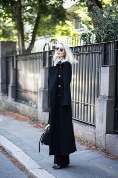 Black long wool coat - Fall fashion.