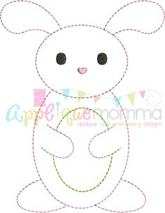 Vintage Bunny with Egg Embroidery Design