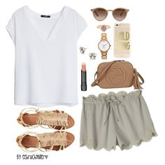 """Olive-Color Shorts~"" by eebruchmiller ❤ liked on Polyvore featuring MANGO, Toast, Visconti & du Réau, Kendra Scott, Ray-Ban, Kate Spade, Bobbi Brown Cosmetics, Gucci and BaubleBar"