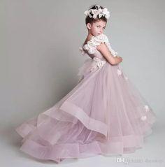 Vintage Krikor Jabotian Flower Girl Dresses Children For Weddings Tiered Kid First Communion Dress Floor Length Little Girl Pageant Gowns