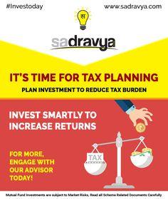 It's Time For Tax Planning! Call us +918595401401 #MF #MutualFunds #Tax #Planning #Investoday #Sadravya