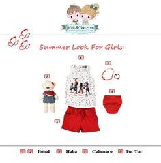 #Summer #look for #girls. Check at www.kidsandchic.com/girl  #girlsclothing #girlsfashion #kidsfashion #trendychildren #kidsclothing #shoppingbarcelona #tuctuc #haba #calamaro #boboli