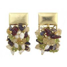 Clustered Gemstone 18k Gold Plated Earrings