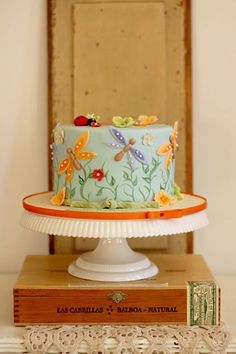 Colorful  Playful Dragonfly Birthday Cake