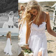 Low back, lace, beach wedding dress featuring thin straps and fitted French lace bodice