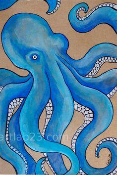 Octopus Blue Art Print  - 8x10 - ocean sea creature tentacles nautical marine royal blue beach gouache ink painting. $15.00, via Etsy.