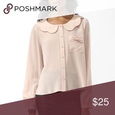 ✨HP✨ NWOT Scalloped Collar Shirt Brand new, never worn. Scalloped Peter Pan collar blouse in rosy pastel pink. Fits small to medium for loose and airy feel. Forever 21 Tops Blouses