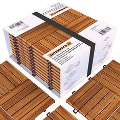 Acacia Hardwood Deck and Patio Easy to Install Interlocking Flooring Tiles - 10 Tiles per Pack - 10 Total sq. Wood Deck Tiles, Hardwood Decking, Concrete Patio, Wood Patio, Interlocking Patio Tiles, Small Patio Ideas On A Budget, Living Pool, Small Balcony Decor, Deck Railings