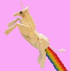 Lego unicorn farting a Lego rainbow