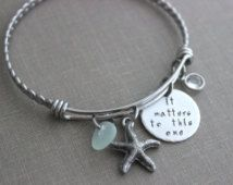 it matters to this one, stainless steel adjustable twisted bangle bracelet, starfish charm, genuine sea glass and Swarovski birthstone