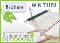 It's HERE! Our Biggest CONTEST! Hammock, Stand & Pillow! Coupons off to all who enter! Click https://www.facebook.com/DesignedForOutdoors/app_208195102528120 to register! And good luck!