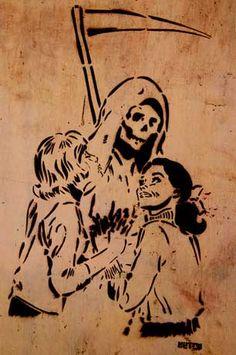 Graffiti of girls embracing Death