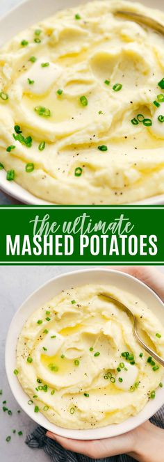Creamy mashed potatoes recipe with tips and tricks on how to make mashed potatoe.Creamy mashed potatoes recipe with tips and tricks on how to make mashed potatoes the BEST. Everything you need to know about making the perfect potatoes! Perfect Mashed Potatoes, Homemade Mashed Potatoes, Making Mashed Potatoes, How To Mash Potatoes, Flavored Mashed Potatoes Recipe, Ultimate Mashed Potatoes Recipe, Steak And Mashed Potatoes, Vegetarian Food, Eating Clean