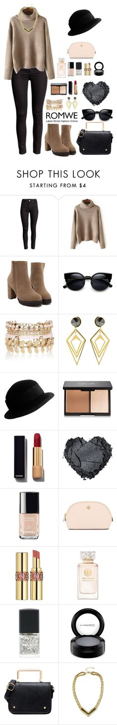 """""""Romwe 4"""" by amra-f ❤ liked on Polyvore featuring River Island, Sarah Magid, Yves Saint Laurent, Chanel, Tory Burch, MAC Cosmetics, romwe and 5sos"""