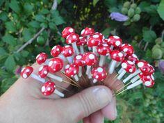 awesome handmade set of 6 mini tiny miniature terrarium mushrooms indoor outdoor use sewing pins  planter fairy garden woodland