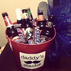 Birthday Beer Bucket I made for my dad. Daddy's Stache beer and snickers candy.