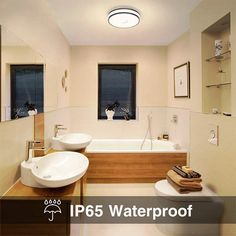 18W LED Ceiling Lights Warm White 1600lm Flush Mount Ceiling Light – onforuleds Round Led Ceiling Light, Bathroom Ceiling Light, Led Ceiling Lights, Ceiling Lamp, White Ceiling, Light Shield, Indoor Swimming Pools, Flush Mount Ceiling, Stairways