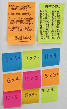 Make Math Stick - Math Game For Kids - No Time For Flash Cards Use Post-it Super Sticky Notes to play this awesome and easy math game. Easy Math Games, Math Games For Kids, Kids Math, Kids Fun, Maths Games Ks2, Secret Agent Activities For Kids, Ks1 Maths, Educational Games For Kids, Math College
