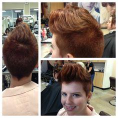 Short hair, pixie cut, pompadour, red hair