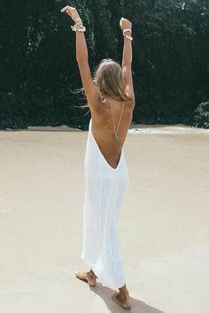 Cabo Gypsy Temple Backless Maxi Dress Cream~ #boho
