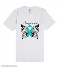 Ovarian Cancer Awareness Butterfly Shirts | Raise awareness with our inspirational and stunning Ovarian Cancer Awareness Butterfly design on shirts, apparel and unique gifts featuring an awareness ribbon set in a tattoo style design by CancerApparelGifts.Com - Copyrighted.  #Skreened