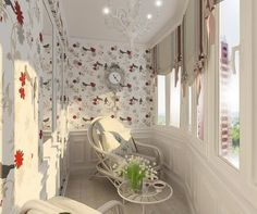 Balcony Curtains: Actual and Fashionable Decoration Ideas. Nice joyful atmosphere at the balcony with colorful wallpaper Balcony Curtains, Retro Curtains, Classic Curtains, Traditional Curtains, Balcony Furniture, Interior Balcony, Furniture Ideas, Apartment Balconies, Log Homes