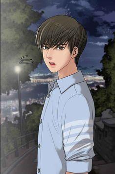 Webtoon: the secret of angel Suho, Manga Art, Anime Art, Anime Boy Zeichnung, Night Sky Moon, Anime Korea, The Secret, Angel Wallpaper, Handsome Anime Guys
