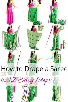 12 Easy Steps to Drape Bollywood Sarees - Saree Styles Bollywood Sari, Mode Bollywood, Bollywood Outfits, Bollywood Fashion, Saree Wearing Styles, Saree Styles, Costume Femme Diy, Indian Dresses, Indian Outfits
