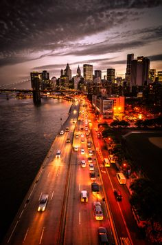 Looking south from Manhattan Bridge, NYC... Have traveled this road many times and it still takes my breath away!