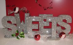 CHRISTMAS DECORATIONS New Years Eve Black Tie Decoration Letters Candy Table/$64.50