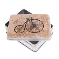 step back in time with the penny farthing vintage metal tin featuring a map of