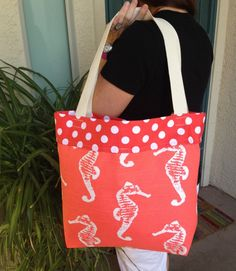 Tote bag Large tote bag Beach bag Reversible by SweetMagnoleah, $25.00