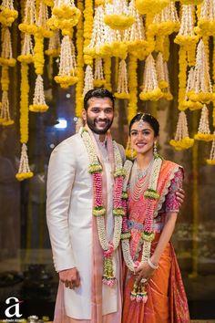 Shravya And Sharan's Engagement - Ashwin Kireet Photography Pictures Indian Wedding Wear, Big Fat Indian Wedding, Saree Wedding, Indian Wear, Telugu Wedding, Bridal Sarees, Wedding Dresses, Indian Bridal Photos, Indian Bridal Fashion