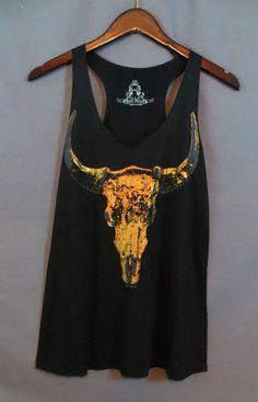 COWGIRL gYPSY Copper Metallic SKULL Longhorn Steer Tank Top Shirt Western MEDIUM #BEARDANCE #TANK