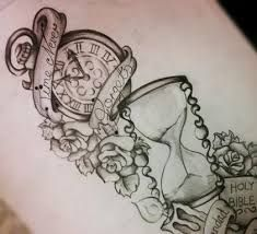 Image result for clock tattoo drawing
