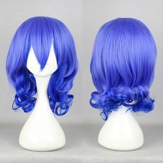Bright BlueCurly Anime Party Cosplay Wig