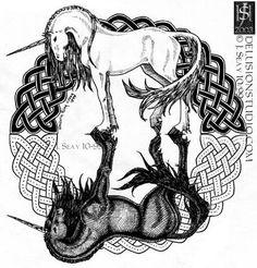 Celtic unicorns; Maybe not unicorns, but just horses would be perfect.