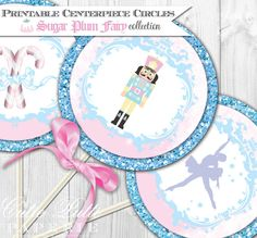 Sugar Plum Fairy Party, Nutcracker Party, Christmas Party, Ballerina Party - 4inch PRINTABLE THEMED Party CIRCLES - Cutie Putti Paperie, $6.00