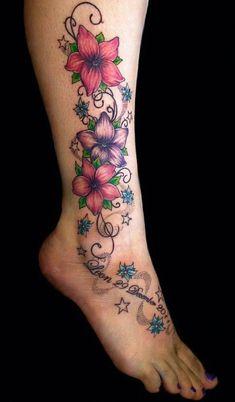 Flower Leg Tattoos, Hawaiian Flower Tattoos, Flower Tattoo On Ankle, Vine Tattoos, Beautiful Flower Tattoos, Foot Tattoos, Body Art Tattoos, Beautiful Flowers, Beautiful Boys