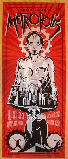 Metropolis - red silkscreen movie poster (click image for more detail) Artist: Rodolfo Reyes Venue: London Film and Comic Con 2012 Location: London, UK Date: Edition: signed and numbered Science Fiction, Fiction Movies, Sci Fi Movies, Old Movies, Vintage Movies, Art Deco Posters, Cinema Posters, Vintage Posters, Retro Posters