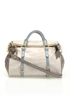 Miu Miu Vitello Lux Trunk Bag In Nude & Gray