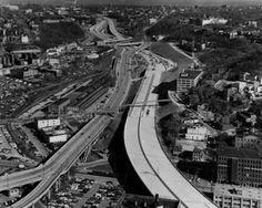 Above Cincinnati's Sixth St. and Broadway, Feb. 5, 1969.