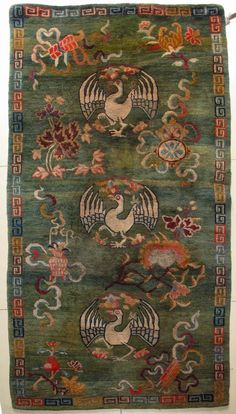 4233# Tibet rug, green background with three group cranes, very nice Babao pattern, good condition and quality. size 175x90cm(68x35)