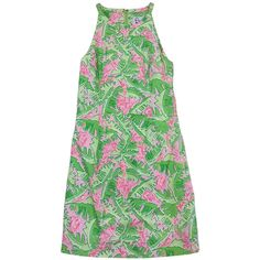 Pre-owned Lilly Pulitzer Green & Pink Monkey Print Cotton Dress (959.090 IDR) ❤ liked on Polyvore featuring dresses, no sleeve dress, preowned dresses, sleeveless dress, pre owned dresses and pink day dress