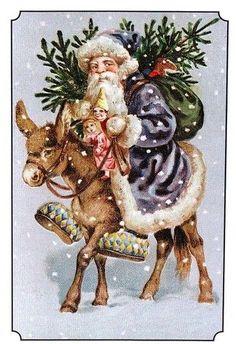 Papai Noel traz os presentes montado num burrico.