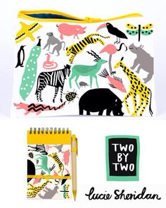 Two by Two #zipperpouch #design #animals #noahsark #illustration