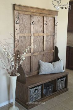 Unbelievable 15 DIY Entryway Bench Projects • Tons of Ideas and Tutorials! Including, from 'shanty 2 chic', this fabulous diy hall tree bench using 'ana white' plans. by tiquis-miquis  The post  15  ..